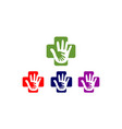 hand care medical cross logo vector image