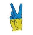 hand gesture of victory flag Ukraine Kiev vector image vector image