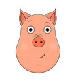 head of serene pig in cartoon style kawaii animal vector image vector image