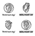 heart day banner set hand drawn style vector image vector image