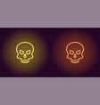 human neon skull in yellow and orange color vector image vector image