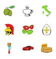 italian travel icons set cartoon style vector image vector image