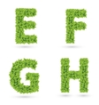 Letters of green leaves collection vector image