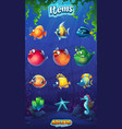 mahjong fish world - set cartoon funny fish vector image