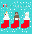 merry christmas llama alpaca sloth unicorn in vector image