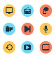 multimedia icons set with radio display replay vector image vector image