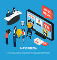news agency isometric background vector image vector image
