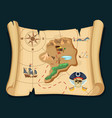 old treasure map for pirate adventures island vector image vector image