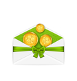 open white envelope with golden coins and bow vector image