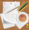 Pencils pushpins paper clips paper sheets tea vector image vector image