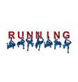 people running top view with text vector image vector image