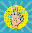 pop art ok sign gesture thumb up hand vector image