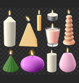 realistic 3d candles holidays candlelight vector image