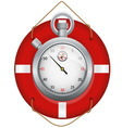 Red life preserver with stopwatch vector image vector image
