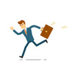 running businessman hurrying to work vector image vector image