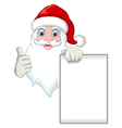 Santa clause cartoon holding blank sign vector image vector image