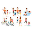 set of family with various exercise and sports vector image