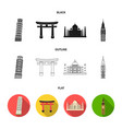 sights of different countries blackflatoutline vector image vector image