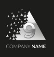 silver number nine logo in silver pixel triangle vector image