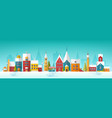 snowy cityscape or landscape with town city vector image