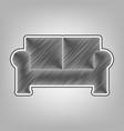 sofa sign pencil sketch vector image vector image