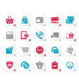 stylized on line shop and e-commerce icons vector image vector image