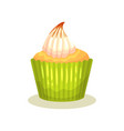 tasty lemon muffin with cream on top delicious vector image vector image