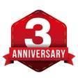 Three year anniversary badge with red ribbon vector image