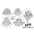ufo fantastic creatures set in outline vector image