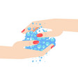 washing woman hand vector image