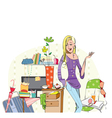 Young careless girl in her messy room vector image vector image