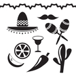 Mexico icons set on white background vector image