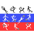 abstract players playing soccer on russia flag vector image vector image
