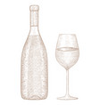 bottle wine with glass hand drawn sketch vector image vector image