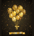 bunch balloon with golden stars black vector image