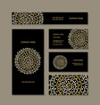 business cards collection golden mandala design vector image vector image