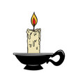 candle in engraving style design element vector image