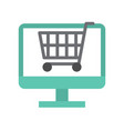 cart on computer screen flat icon shopping online vector image vector image