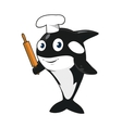 Cartoon killer whale baker character in chef hat vector image