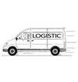 cartoon of driver of generic delivery van with vector image vector image