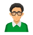 Cartoon Style Portrait of Nerd with Glasses and vector image