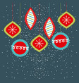 christmas balls hanging decoration party vector image