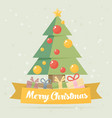 christmas card christmas tree flat vector image