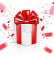 christmas or happy new year red gift box with vector image vector image