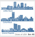 cities usa - grand rapids columbus little vector image vector image