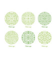 collection curved circular oriental ornaments vector image
