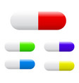 colorful capsules tablets pills set vector image vector image