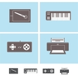 Computer peripheral devices icons vector image vector image