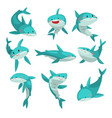 cute friendly sharks set cute funny sea animal vector image vector image