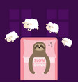 cute sloth sleeping sign zzz jumping sheeps cant vector image vector image